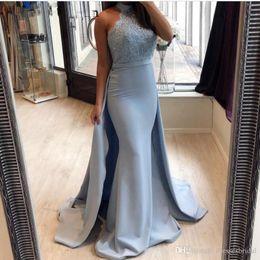Black Light Overlays NZ - Light Blue High Neck Prom Dresses with Detachable Overlay Train Arabic Style Formal Occasion Celebrity Dresses Dubai Caftan Evening Gowns
