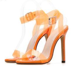 d324aeca7b9 2019 Candy colorful transparent PVC cross strappy gladiator sandals fashion  luxury designer women high heels orange yellow size 35 To 40