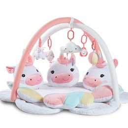 unicorn doll toy UK - Cartoon unicorn pedal piano music baby playmat baby gym kids rugs crawling mat kids carpet toys for toddler boys plush dolls toy