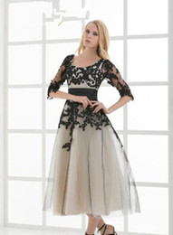 $enCountryForm.capitalKeyWord UK - Black and Champagne Vintage Tea Length Short Wedding Dresses With Sleeves Corset Back A-line Gothic Informal Bridal Gowns With Color