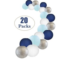$enCountryForm.capitalKeyWord NZ - 20 Pcs Per Set White Silver Navy Blue Paper Lantern Mixed Sizes Colors for Wedding Birthday Party Baby Shower Decor Supplies DIY