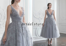 Discount apple flower tea - Classy Paolo Sebastian Prom Dresses Short tea length 3D Floral Lace Beadwork Evening Gown Fairy Dusty Grey Formal Party