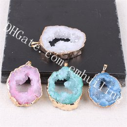 Crystal Slice Australia - 10Pcs Freeform Gold Plated Edge Druzy Agate Crystal in Dyed Color Blue White Pink Green Purple Hollow Druzy Gemstone Geode Slice Pendants