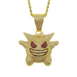 iced out jewelry UK - 2020 New Fashion Full Rhinestone Gengar Iced Out Pendant Necklace Hip Hop Bling Chains Jewelry for Men With Twisted Chain