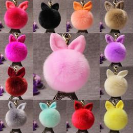 Free ear rings online shopping - Free DHL Hot Sale Bunny Rabbit Ear Keychain Fur Bag Charms Keyring Pom Pom Car Pendant Key Ring Cute Wallet Keychains Jewelry D316Q Y