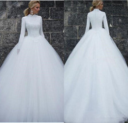 Embroidery Short High Neck Gown Australia - High Neck Muslim Wedding Dresses with Long Sleeve Full Back Puffy Skirt Lace Tulle Middle East Princess Ball Gown Wedding Dress