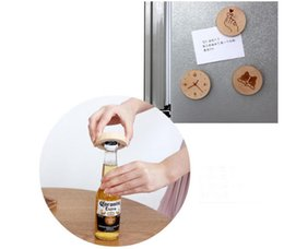 bottle magnets UK - Blank DIY Wooden Round Shape Magnetic Flamingo Cartoon Printed Bottle Opener Coaster Fridge Magnet Decoration Beer Bottle Opener SN93