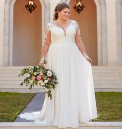 fbc39e685c1d8 2019 Beach Country Wedding Dresses A-line Chiffon Lace Top V-Neck With Long  Sleeves Backless plus size Bohemia Bridal Gown Illusion Bodice