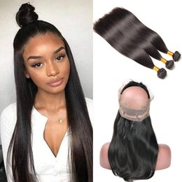 Remy fRont lace closuRe online shopping - 360 Frontal With Bundles Malaysian Straight Human Hair Bundles With Closure Lace Front With Bundles Remy Hair Extension Full Beyo