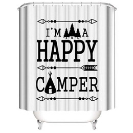 hooks for shower curtain Canada - Happy Camper English letters Saying Gift for you 3D Digital Printing Printed Waterproof Bathroom Window Shower Curtains With Rings Hooks
