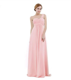 Discount long empire waist bridesmaid dresses - Women Chiffon Bridesmaid Dress High-waist Floor Length One-shoulder Pleated Lace Wedding Party Bridesmaid Dresses Prom G