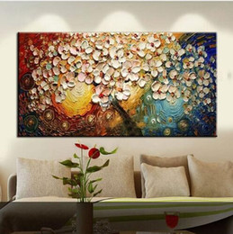 Oil paint palette knife online shopping - Hand Painted New Modern Canvas on Oil Painting Palette knife Tree D Flowers Paintings Home living room Decor Wall Art