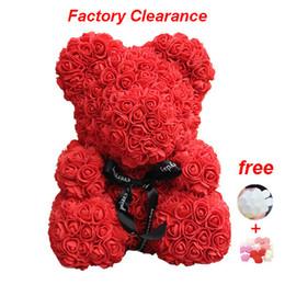 $enCountryForm.capitalKeyWord Australia - Red Rose Bear 40cm Teddy Bear Artificial Foam Flowers With Gift Box For Valentine's Day Gift Wedding Decoration Dropshipping J190710