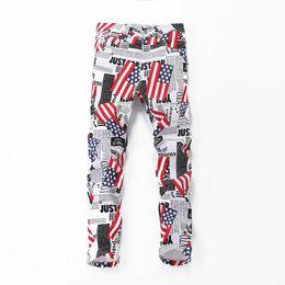 Wholesale american flag printed jeans for sale – denim Fashion Casual Slim Hip Hop Jeans for Men Pencil Pants Cool American Flag Letter White Print Plus Size