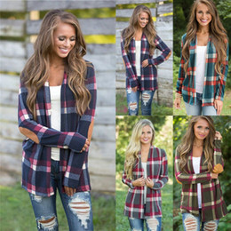 Wholesale red plaid cardigan online – New Spring Outwear Women Cardigan Casual Contrast Plaid Long US Europe Style Outwear Thin Coat Top Clothing S XL