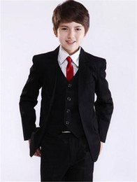 Prom Boys Jacket Australia - Black Kids Wedding Suits for Prom Party Tuxedos 2019 Graduation Children Suit Three Piece Custom Jacket Pants Vest Boys Formal Wear