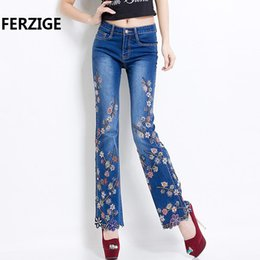 Wholesale beading jeans for sale - Group buy FERZIGE Jeans Women Brand Manual Beading Embroidered Flared Fashion Designer Stretch Hand Beads Female Pants Large Size