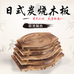 bbq heat plate Australia - Iron board placemat heat insulation wooden grilled stone pan comal table wood mat plate thickened wooden cooking BBQ base
