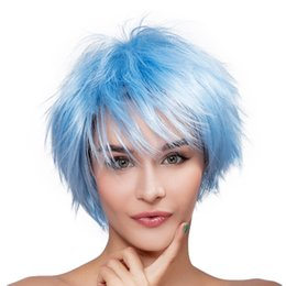 Light bLue cospLay wig short online shopping - Women Beautiful Short Light Blue Natural Straight Kanekalon Heat Resistant Cosplay Party Hair Full Wig Wigs