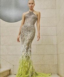 Yousef aljasmi labourjoisie online shopping - Evening dresses Long dress Kim kardashi Sheath Mermaid High neck Feather Silver Crystal Off shoulder Yousef aljasmi Labourjoisie