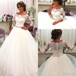 Beach Wedding Dress Sashes Australia - 2019 A-line Wedding Dresses Beach Vintage Lace Top Beaded Sash Scoop With 3 4 Long Sleeves Bridal Gown Floor Length With Buttons Back