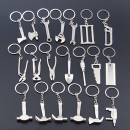 mini hammer keychain NZ - 20 Models Mini Tool Keychain Wrench Metal Key Chain Spanner Hammer Saw Axe Pliers Drill Keyring Key Ring Opener Keyfob Tools