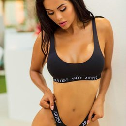 $enCountryForm.capitalKeyWord NZ - Elastic Black Swimsuit Letter Sleeveless Split Sexy Summer Set Print Women U-Neck Wireless Bikini