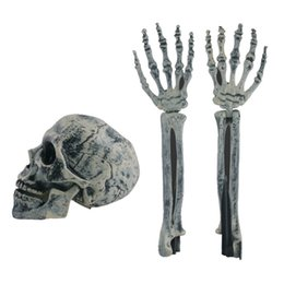 plastic skeleton skull NZ - 3pcs set Halloween Decorations Horror Skull Arms Skeleton Props 100% Plastic Lifelike Halloween for Home Outdoor Party Supplies
