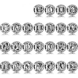Six tv online shopping - NEW Sterling Silver pandora Twenty six letters Charm beads Fit Bracelet DIY bangle for Women Jewelry factory Gift