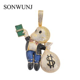 Money chains online shopping - Large Size High Quality Brass CZ stones Cartoon Men Money Bag pendant Hip hop Necklace Jewelry Bling Bling Iced Out CN044