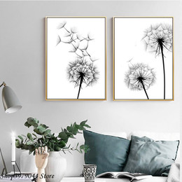 dandelion canvas art 2019 - Nordic Poster Black And White Painting Dandelion Wall Art Minimalist Canvas Poster Modern Home Decor For Living Room Unf