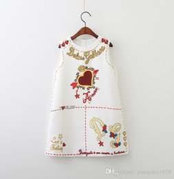 love boat clothing Canada - European and American children's clothing spring and autumn clothing new girls letters printed vest skirt love dress child high-end pri