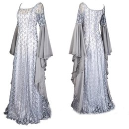 renaissance costumes for women Australia - women Medieval Renaissance Princess Costume White Wedding Lace Maxi Dress Elegant Lace Wide Sleeves Gown Robe For adult Ladies