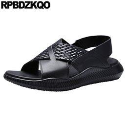 $enCountryForm.capitalKeyWord Australia - Shoes Strap Black Designer Open Toe Native Genuine Leather Men Sandals Summer Water Beach High Quality Outdoor Woven Slip On