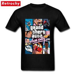Tall Tee Men NZ - Grand Theft Auto Vice City T Shirt GTA GAME T-Shirts Men T-Shirts Big Tall Pure Cotton Round Neck Tee Shirts