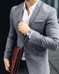 $enCountryForm.capitalKeyWord Australia - Fashion Light Gray Groom Tuxedos 2019 Notched Lapel Two Button Groomsmen Mens Suit Wedding Tuxedos Two Piece Suit(Jacket+Pants) 001
