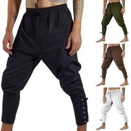 wholesale overalls men Australia - 2019 Autumn Costume Overalls Men Bandage Pants Capris Trousers Vintage Cotton Joggers Men Quick Dry Casual Pants