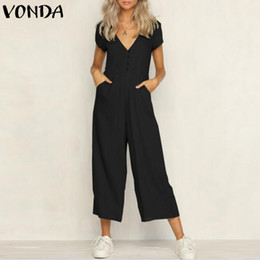 $enCountryForm.capitalKeyWord Australia - Vonda Rompers Womens Jumpsuit 2019 Summer Casual Sexy V Neck Short Sleeve Pockets Overalls Baggy Playsuits Plus Size Bodysuits Y19051601