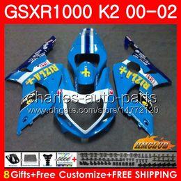 Gsxr rizla fairinG kits online shopping - Bodys For SUZUKI GSXR GSX R1000 GSXR1000 Frame HC GSX R1000 K2 GSXR new RIZLA blue Fairing kit