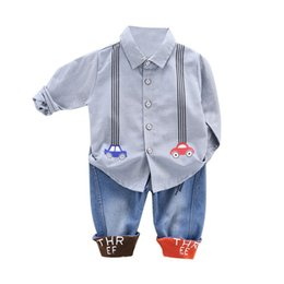 Discount blouse baby collar - Autumn Set Children Baby Boys Casual Long Sleeve Cartoon Car Print Blouse Tops+Denim Pants Trouser Costume Casual Set