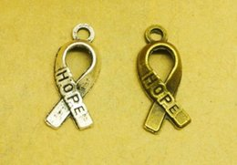 Cancer Hope Charms Australia - 100pcs Antique Silver tone Antique Bronze Breast Cancer Ribbon Tie Pendant Charms Finding,Metal Hope Finding,DIY Accessory