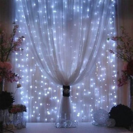 Wall Curtains Australia - 3M x 3M LED Window Curtain String Fairy Lights Curtain Garlands Strip Party Lights For Wedding Wall Decoration Wedding Party Home Garden