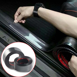 Trunk bumper proTecTor online shopping - Car Sticker Carbon Fiber Vinyl D Stickers Decals Anti Scratch Protective Strip Film Automobiles Cars Door Sill Trunk Bumper Protector