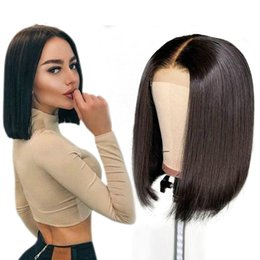 long layered hair NZ - Short Full Lace Wigs Brazilian Human Hair Fake Scalp 13x6 Frontal Long Straight Brazilian Virgin Pre Plucked Lacefront Bob Wig For Women