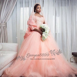 $enCountryForm.capitalKeyWord Australia - 2019 Vintage lace 3 4 long sleeves ball gown blush pink wedding dresses sheer neck illusion soft tulle church formal bridal wedding gowns