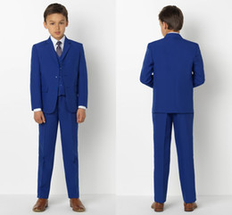 sky blue color tuxedo 2019 - Handsome Kids Formal Wear Blue Peaked Lapel 3 Pieces Wedding Tuxedos High Quality Boy's Formal Wear Pant Suits chea