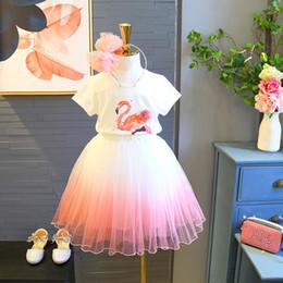 $enCountryForm.capitalKeyWord Australia - baby tutu dress fashion girls 2pcs Girls wear flamingo short-sleeved T-shirt + skirt party girls kids frock infant clothing toddler garments