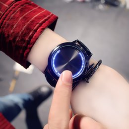 smart buckle watch Australia - Creative personality minimalist leather normal designer watch LED luxury mens watches men and women couple smart watch electronics