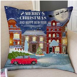 $enCountryForm.capitalKeyWord Australia - Christmas in Town Drawing Car Christmas Tree Design Painting Decorative Sofa Cushion Cover Cotton Linen Chair Throw Pillow Case