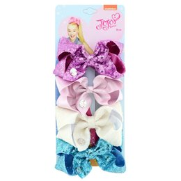 $enCountryForm.capitalKeyWord Australia - Cute jojo bows Sequins Girl Hair accessories Hair Clips Shinning Hair Bows 4 inch Birthday gift 4pcs card for Boutique store FJ456